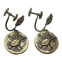 Paris Musical Screw Back Dangle Earrings