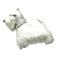 White Enameled Scottie Dog With Rhinestone Collar Brooch Pendant