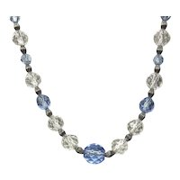 Clear Blue & Sterling Faceted Crystal Bead Necklace