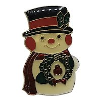 Enameled Christmas Snowman Brooch
