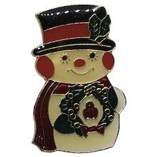 Enameled Christmas Snowman Brooch