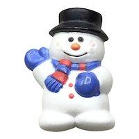 Hard Plastic Christmas Snowman Brooch