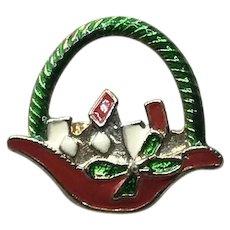 Christmas Enameled Christmas BAsket Brooch