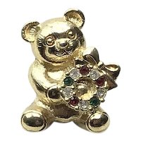 Gold Tone Rhinestone Christmas Bear Lapel Pin