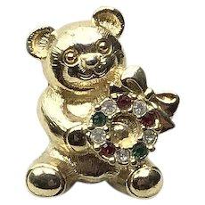 Gold Tone Rhinestone Christmas Bear Lapel Pin