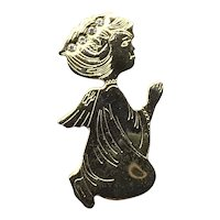 Gold Tone Clear Rhinestone Angel Lapel Pin