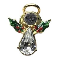 Gold Tone Enameled Rhinestone Angel Lapel Pin