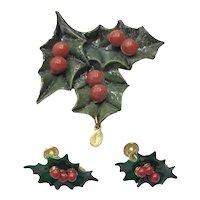 Hard Plastic Holly Leaf & Berries Brooch & Earrings Miraculous Medal
