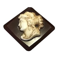 Faux Cameo Celluloid Brooch