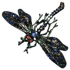 Rhinestone Enameled Dragonfly Brooch NOS
