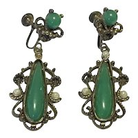 Gold Tone Faux Jade Faux Pearl Dangle Earrings
