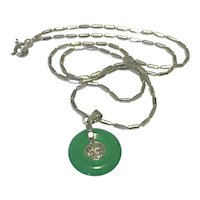 White 18K Gold Plated Jade Pendant Necklace