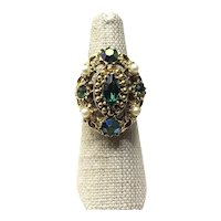 Gold Tone Faux Pearl Faux Emerald Cocktail Ring Size 6