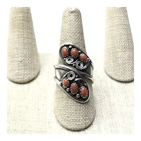 Sterling Native American Bypass Coral Ring Size 9