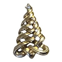 Gold Tone Avon Ribbon Christmas Tree Brooch