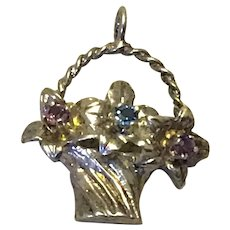 Silver Gilt Pink & Blue Rhinestone Floral Basket Pendant