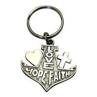 Silver Tine Love Hope & Faith Key Ring