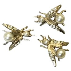Three Gold Tone Bumble Bee Lapel Pins