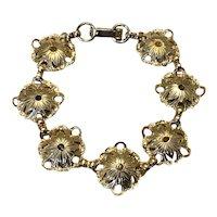 Gold Tone Floral Link Bracelet