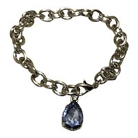 Silver Tone Blue Rhinestone Link Dangle Bracelet