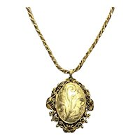 Napier Gold Tone Locket & Chain