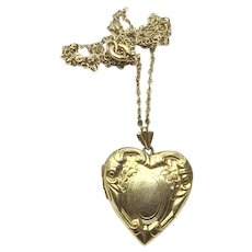 Older Gold Filled Repousse Double Photo Heart Locket & Chain