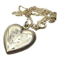 Older Gold Filled Etched Double Photo Heart Locket & Chain