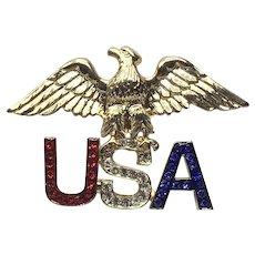 Patriotic Eagle & USA Rhinestone Brooch