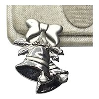 Silver Tones Christmas Bells Brooch