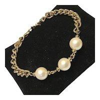 Monet Gold Tone Metal Faux Pearl Bracelet
