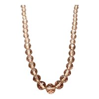"""Pink Faceted Bead Necklace 24"""""""