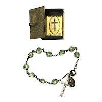 Sterling Silver Crystal Rosary Bracelet In Metal Rosary Case
