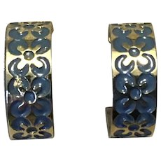 Silver Tone Coro Blue Enamel Hoop Earrings