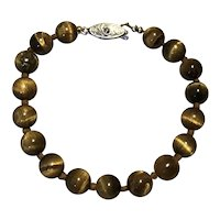 Tiger Eye Knotted Bracelet 7 1/2""