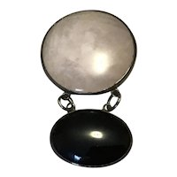 Sterling Silver Rose Quartz Black Onyx Dangle Brooch