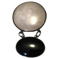 Sterling Silver Rose Quartz Black Onyx Dangle Brooch