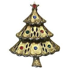 Gold Tone Rhinestone Christmas Tree Brooch