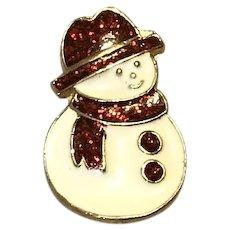 Gold Tone Enameled  Glitter Snowman Brooch