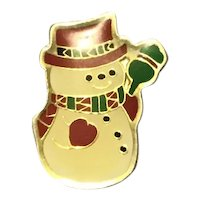 Gold Tone Enameled Snowman Brooch