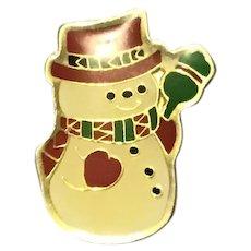 Gold Tone Enameled Snowman Brooch