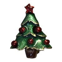 Gold Tone Enameled Rhinestone Christmas Tree Brooch