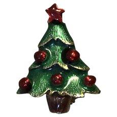 Gold Tone Enameled Rhinestone Christmas Tree Brooch