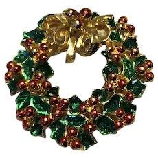 Gold Tone Enameled Christmas Wreath Brooch