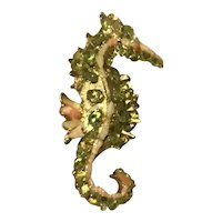 Gold Tone Green Glass Faux Coral Faux Pearl Seahorse Brooch