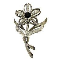 Silver Tone Black Rhinestone Sarah Coventry Floral Brooch