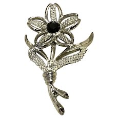 Silver Tone Black Rhinestone Sarah Coventry Floral Brooch