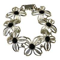Silver Tone Black Rhinestone Sarah Coventry Floral Bracelet