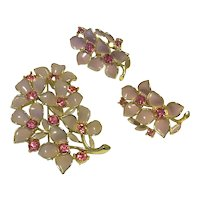 Gold Tone Sarah Coventry Pink Enamel & Pink Rhinestone Brooch & Clip Earrings