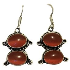 Sterling Silver Carnelian Dangle Earrings NOS