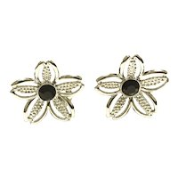 Sarah Coventry Silver Tone Black Rhinestone Clip Earrings